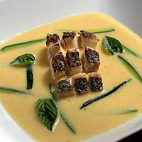 Roasted Corn Soup with Bass