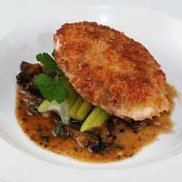 PARMESAN CRUSTED SOUS VIDE CHICKEN BREAST WITH MUSHROOM TRUFFLE SAUCE