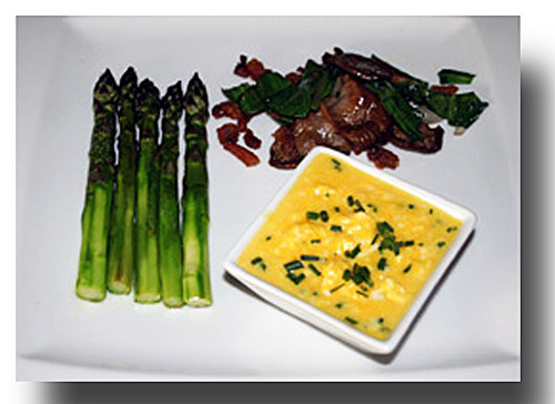 ... Scrambled Eggs with Roasted Asparagus and Sauteed Mushrooms and Ramps