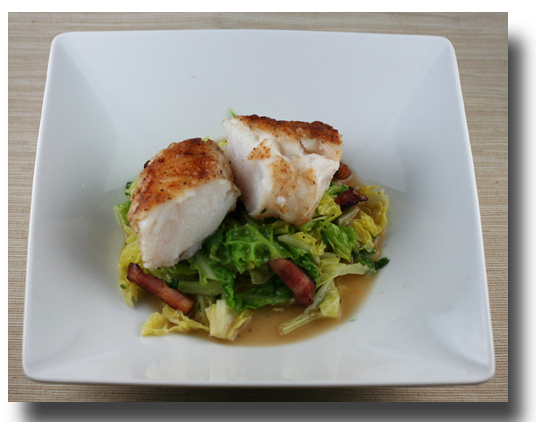 Pan Roasted Monkfish With Cabbage And Bacon
