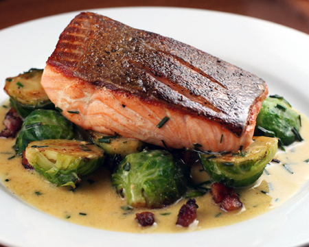 Seared Salmon with Brussel Sprouts, Crispy Bacon and Mustard Sauce