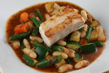 ... dish by adding Wild Striped Bass (shown here without the skin
