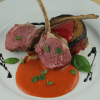 costco rack of lamb with red pepper sauce