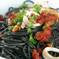 squid ink pasta with roasted tomatoes