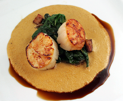 Seared scallops with monkfish liver sauce recipe for Monk fish recipes