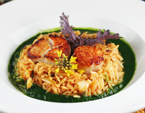 seared scallops with orzo and ramp puree for the scallops