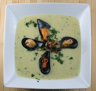 leek and potato soup with mussels recipes and information service