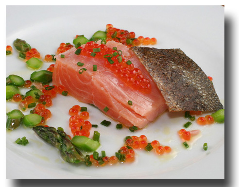 Salmon sous vide salmon roe asparagus and chives