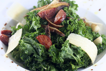 Raw Kale Salad with Sautéed Shiitake Mushrooms, Turnips, Pheasant ...